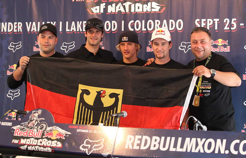 Motocoss of Nations 2010 in Lakewood, Colorado - Team Germany mit Andreas Kosbahn, Marcus Schiffer, Ken Roczen, Maximilian Nagl und Olaf Noack (v.l.)