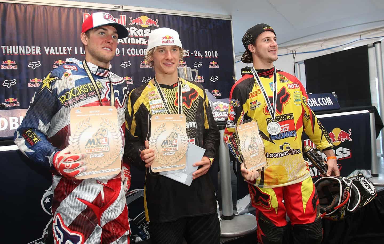 Motocoss of Nations 2010 in Lakewood, Colorado - Die drei besten Fahrer des MXoN 2010 Ryan Dungey, Ken Roczen und Clement Desalle