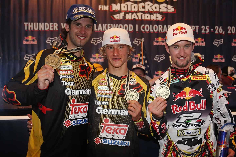 Motocross der Nationen 2010 in Lakewood - Team Germany mit Marcus Schiffer, Ken Roczen und Maximilian Nagl (v.l.)