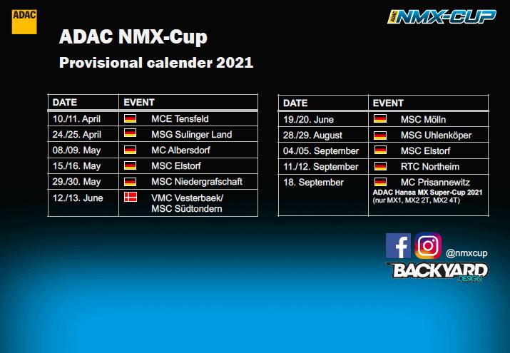 ADAC NMX-Cup 2021 - Provisorischer Kalender 2