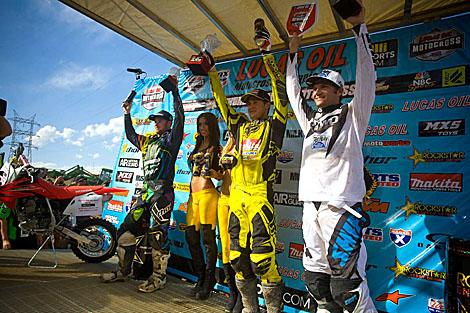 Die Top 3 des Tages in der 450ccm-Kategorie: Ryan Villopoto, Ryan Dungey und Chad Reed