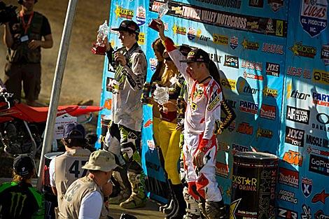 Die Top 3 der 250ccm-Kategorie: Dean Wilson, Blake Baggett und Eli Tomac
